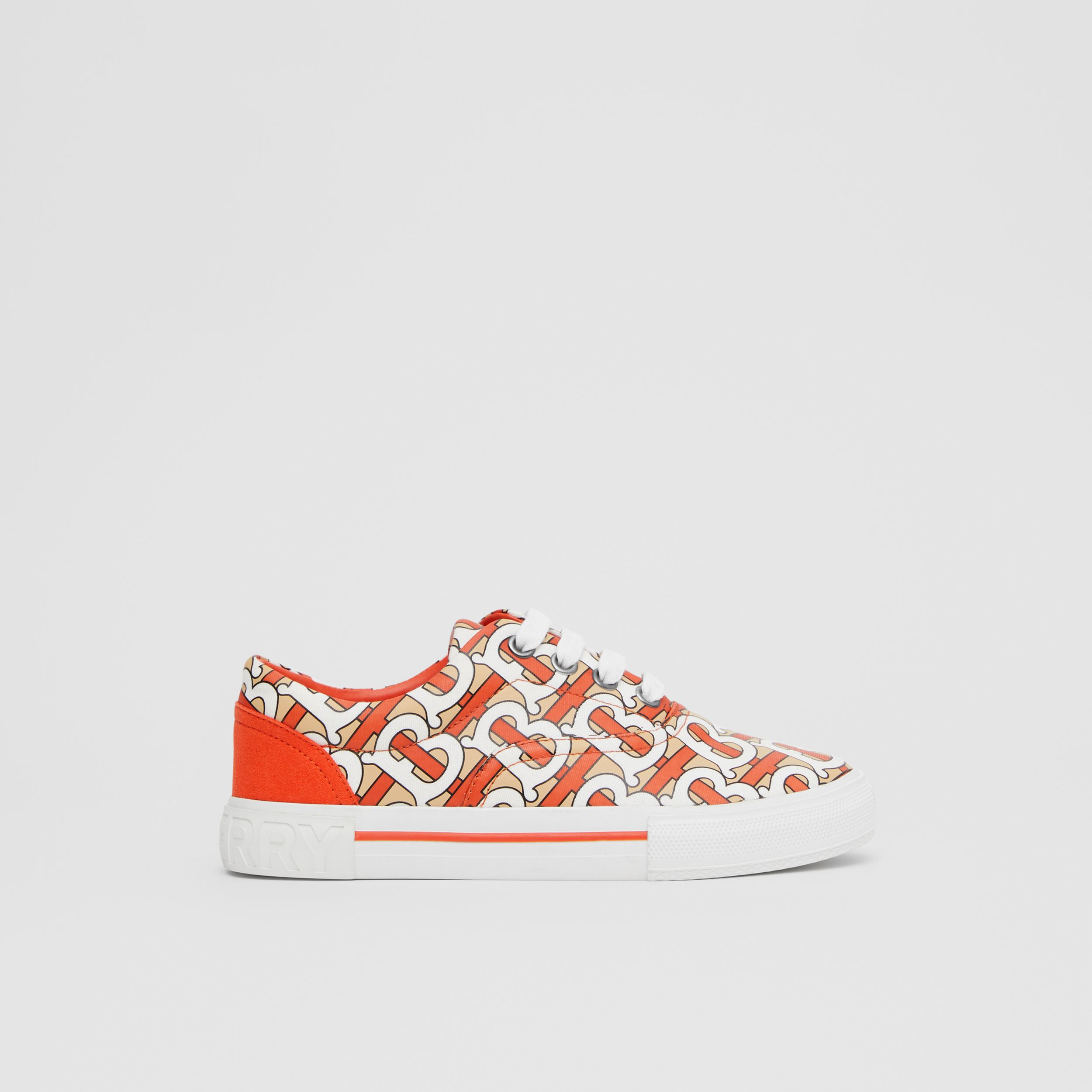 Monogram Print Cotton Gabardine Sneakers in Vermilion Red - Children | Burberry - 4