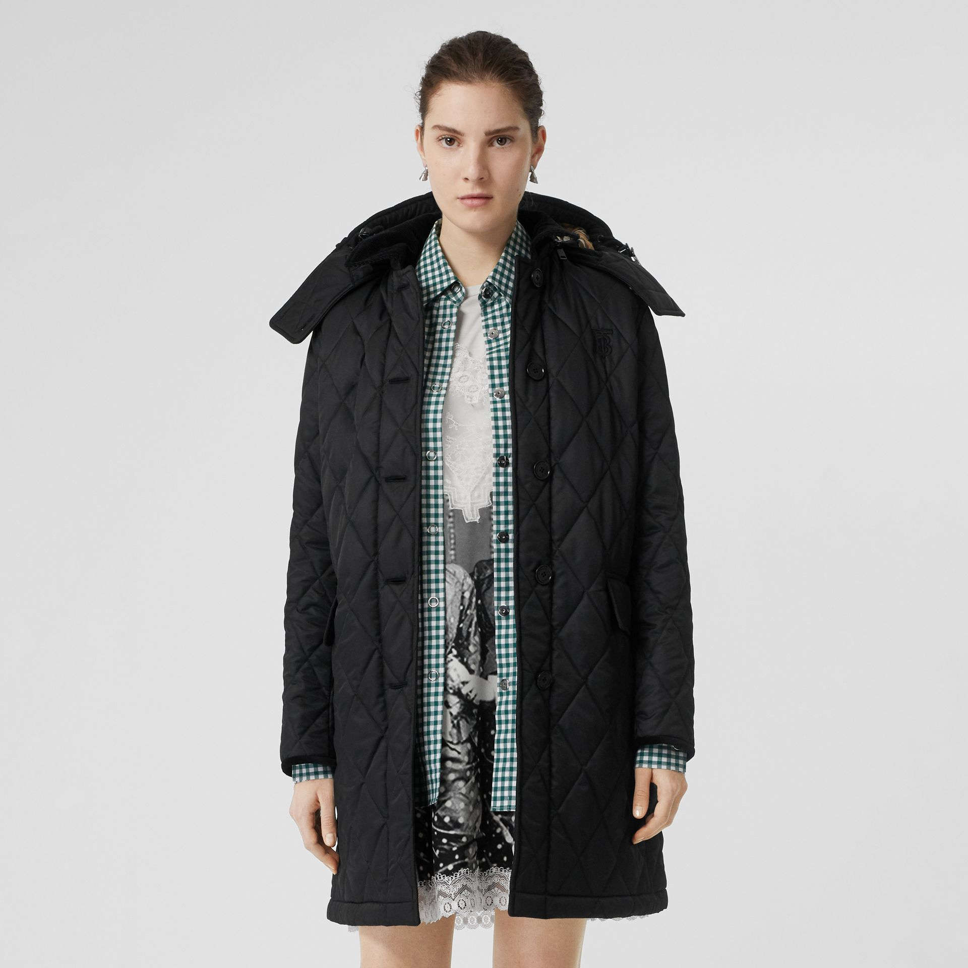 Detachable Hood Monogram Motif Quilted Coat in Black - Women | Burberry United Kingdom - gallery image 5