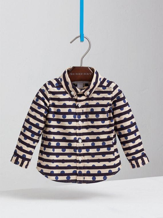Spot and Stripe Print Cotton Shirt in Natural White/navy