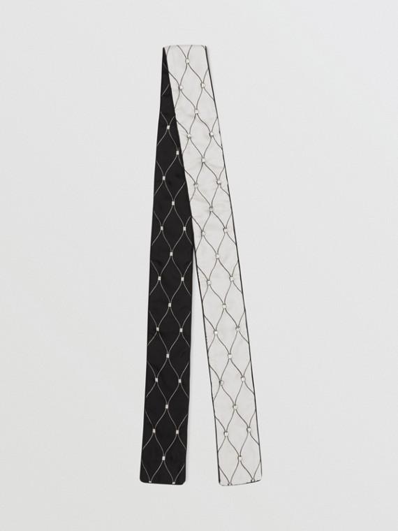 Sciarpa sottile in twill di seta con stampa a rete e decorazioni (Nero)