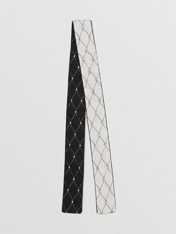 Embellished Net Print Silk Twill Skinny Scarf in Black