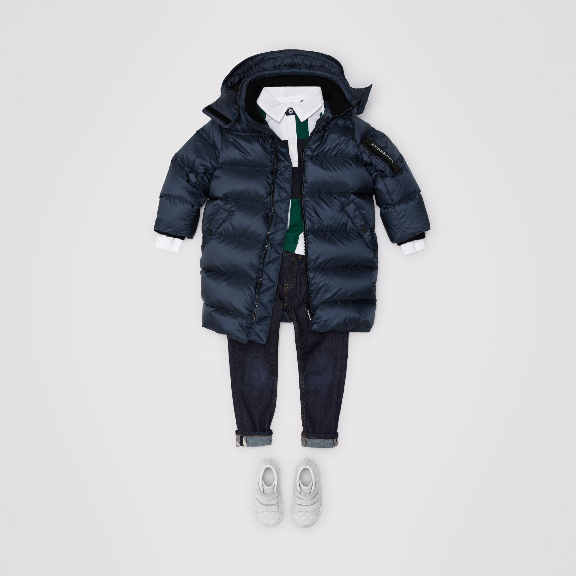Abrigo acolchado con relleno de plumón y capucha de quita y pon (Azul Marino) | Burberry - imagen de la galería 2