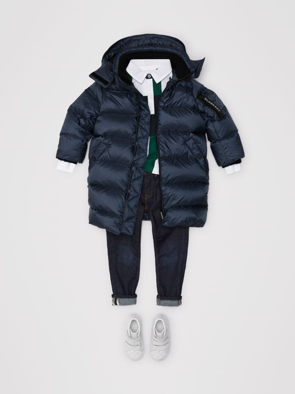 Detachable Hood Down-filled Puffer Coat in Navy | Burberry - cell image 2