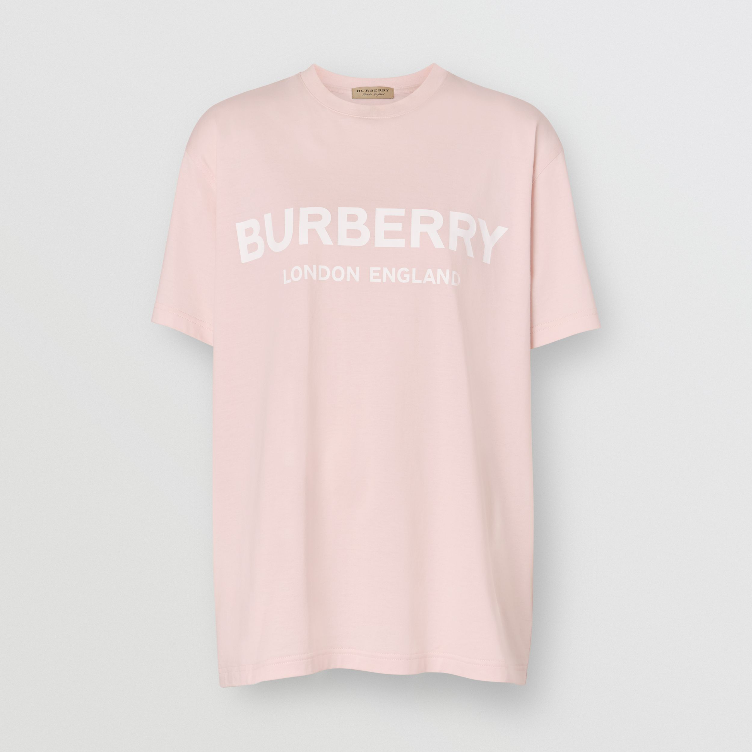 Logo Print Cotton Oversized T-shirt in Alabaster Pink - Women | Burberry - 4