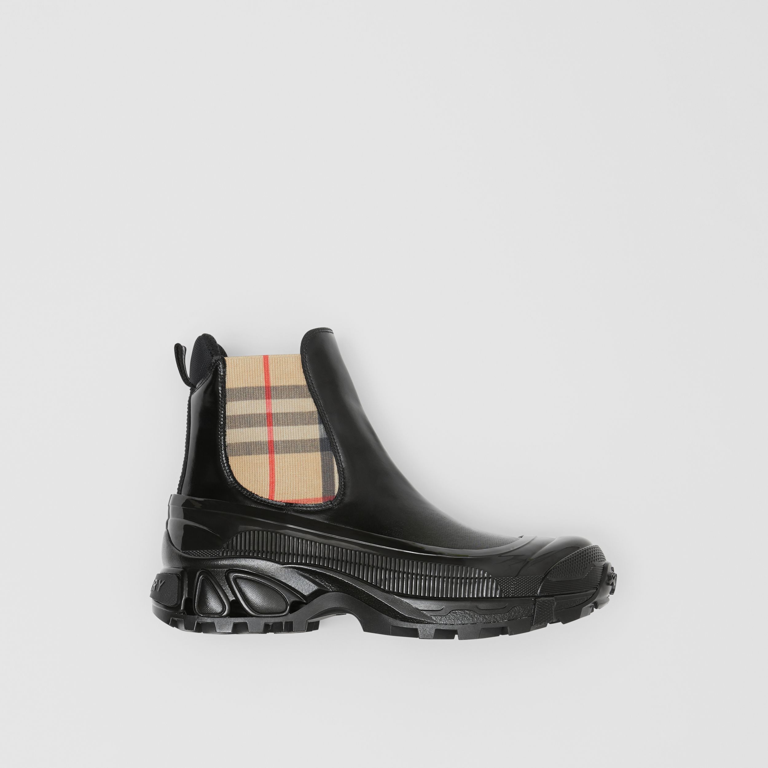 Vintage Check Detail Coated Canvas Chelsea Boots in Black/archive Beige - Women | Burberry - 1