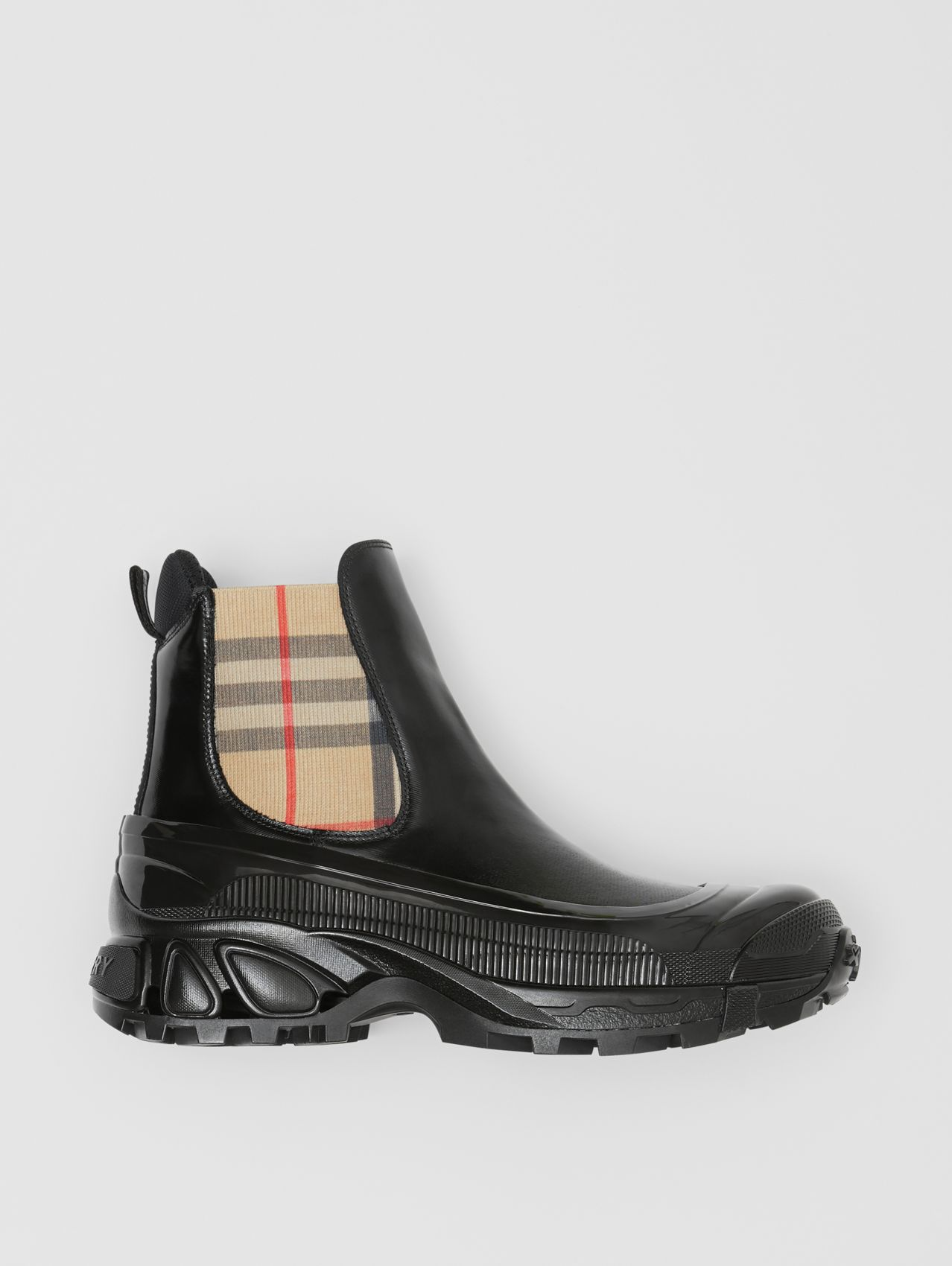 Vintage Check Detail Coated Canvas Chelsea Boots in Black/archive Beige