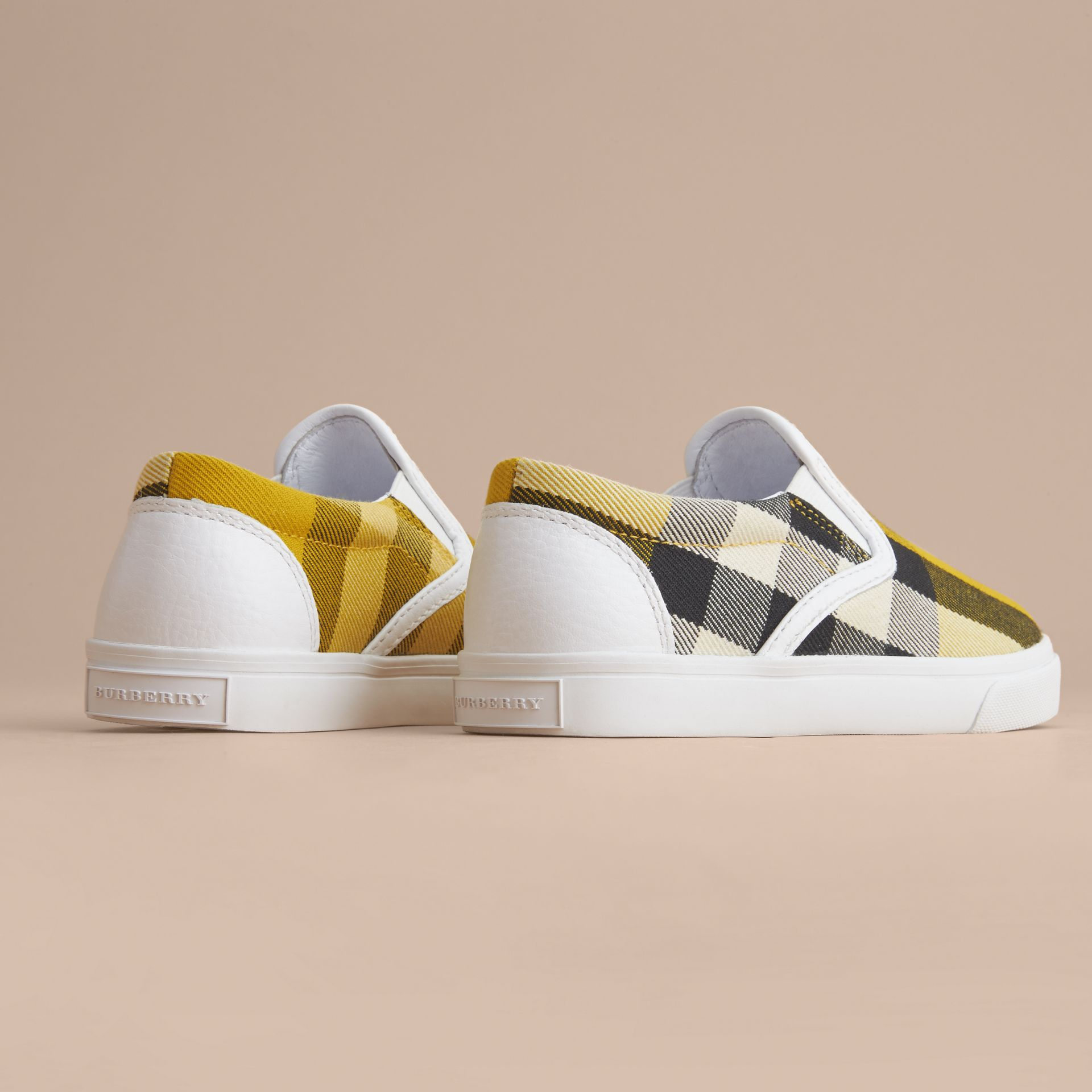 Tonal House Check and Leather Slip-on Trainers in Gorse Yellow | Burberry - gallery image 4