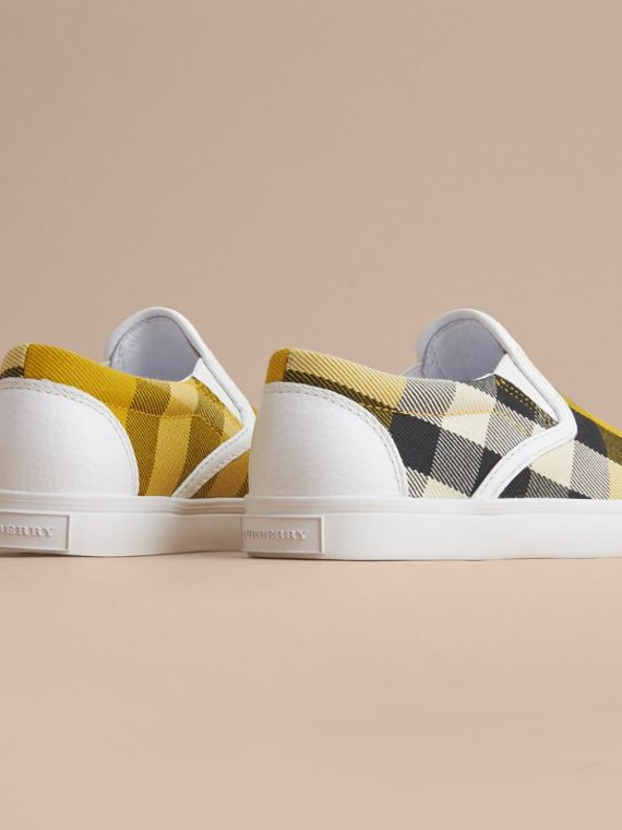 Tonal House Check and Leather Slip-on Trainers in Gorse Yellow | Burberry - cell image 3