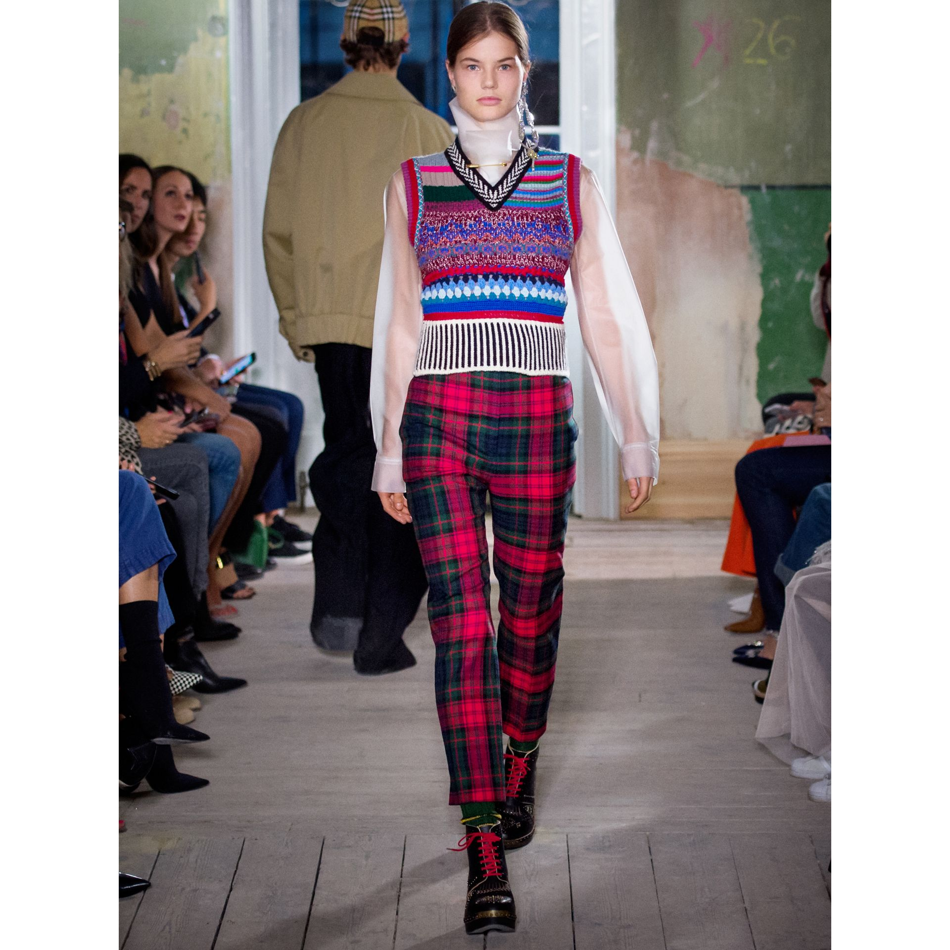 Tartan Wool High-waisted Trousers in Bright Red - Women | Burberry Australia - gallery image 5