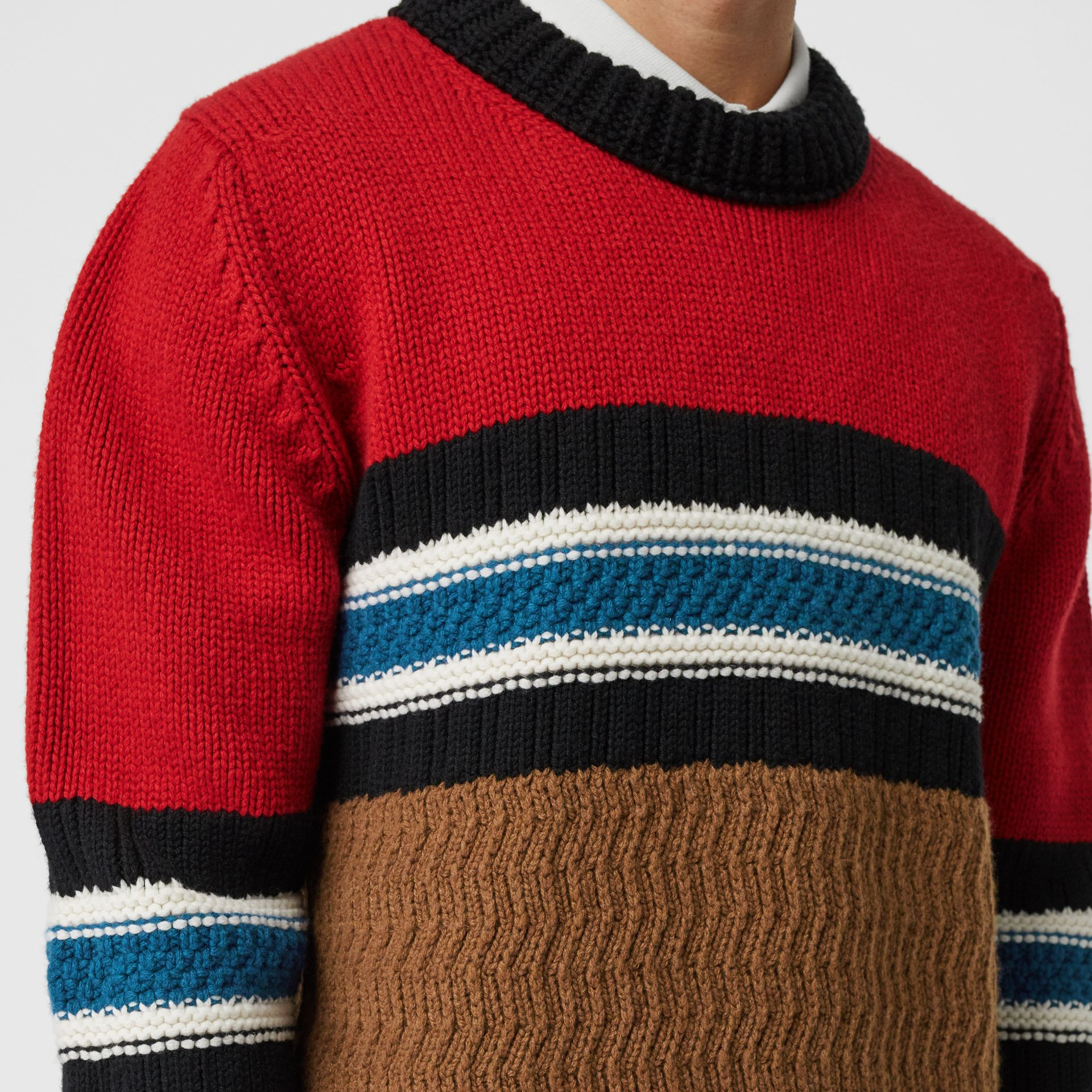 Striped Wool Cashmere Sweater in Bright Red - Men | Burberry - gallery image 1