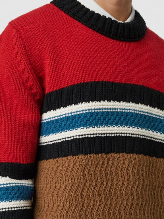 Striped Wool Cashmere Sweater in Bright Red - Men | Burberry Australia - cell image 1