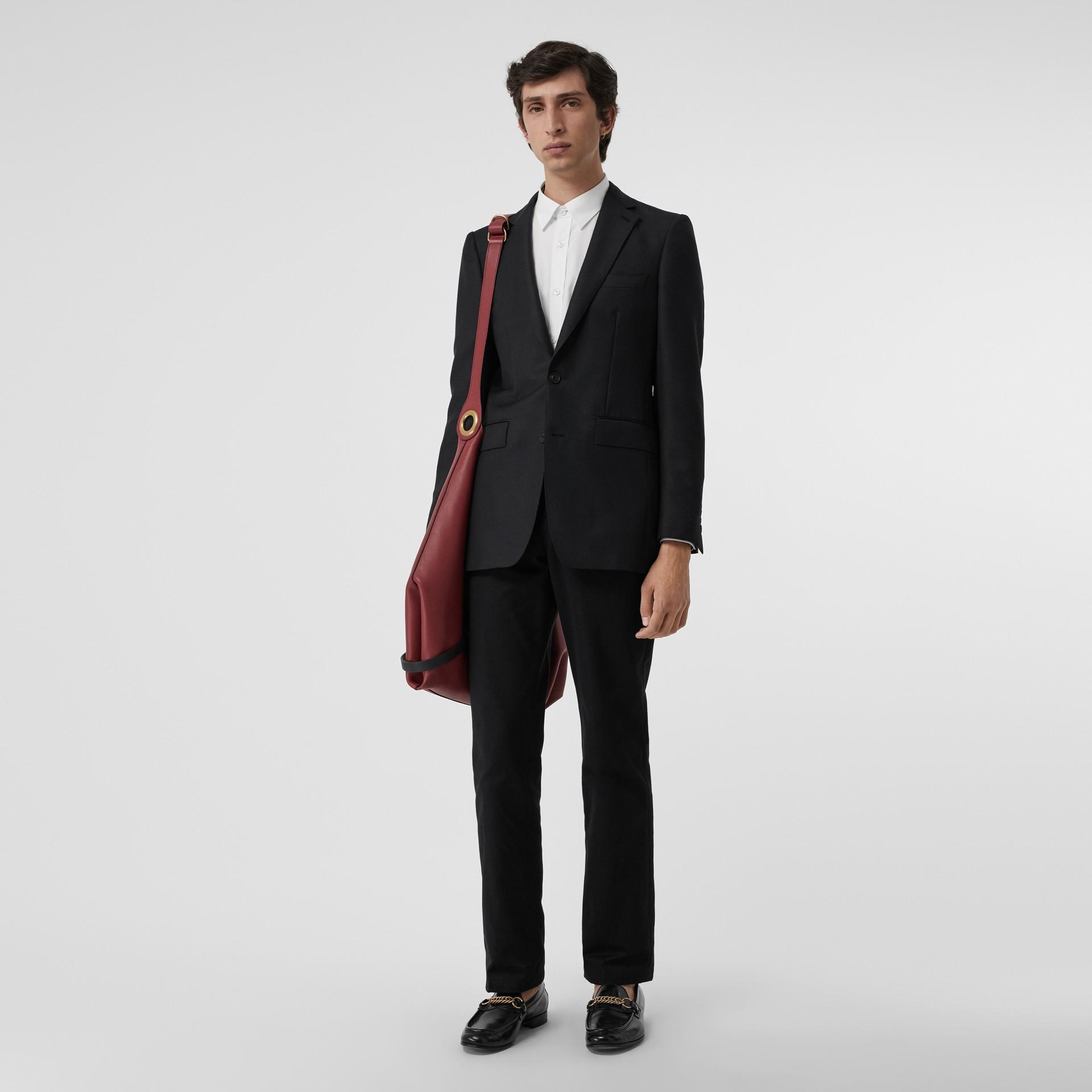슬림핏 울 모헤어 테일러드 재킷 (블랙) - 남성 | Burberry - 갤러리 이미지 0