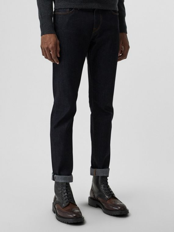 Straight Fit Stonewashed Jeans in Mid Indigo