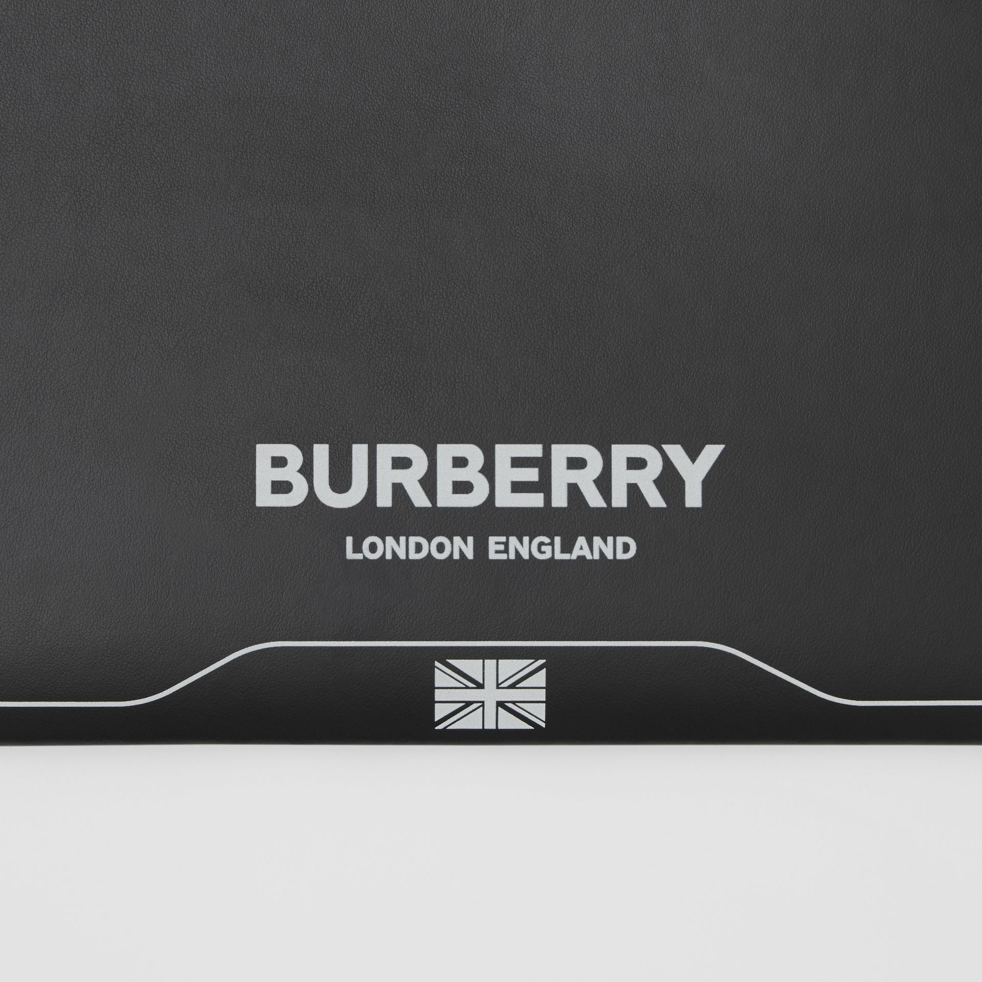 Symbol Print Leather Zip Pouch in Black | Burberry United States - gallery image 1
