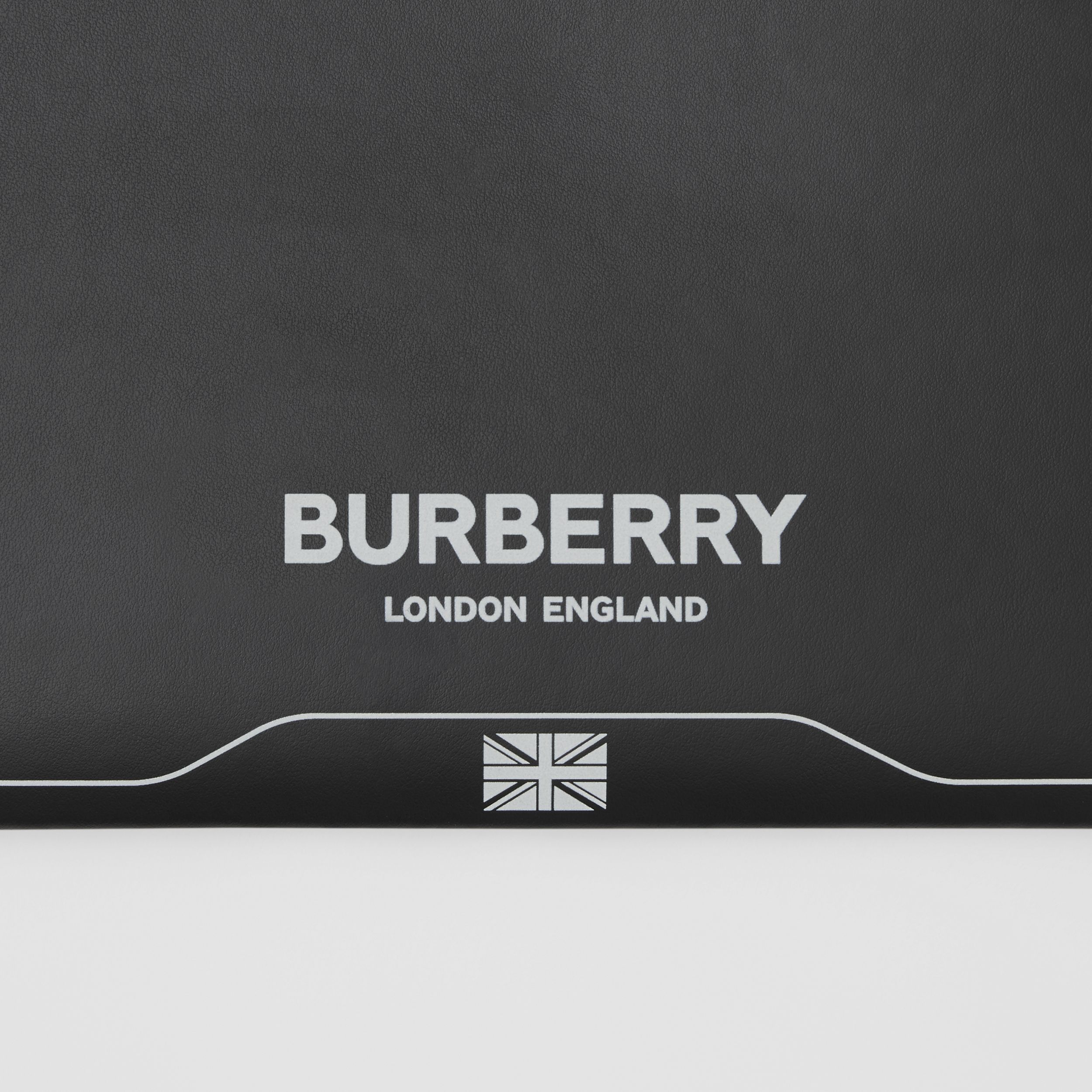 Symbol Print Leather Zip Pouch in Black | Burberry Australia - 2