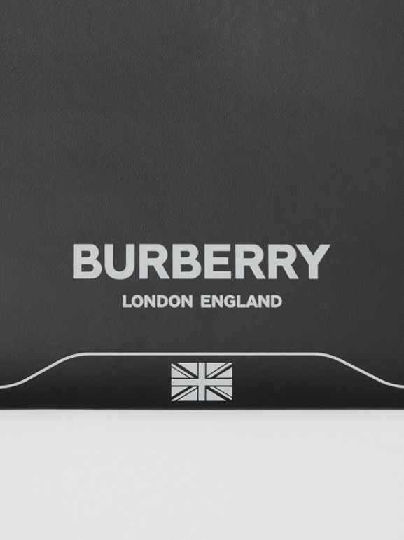 Symbol Print Leather Zip Pouch in Black | Burberry United States - cell image 1