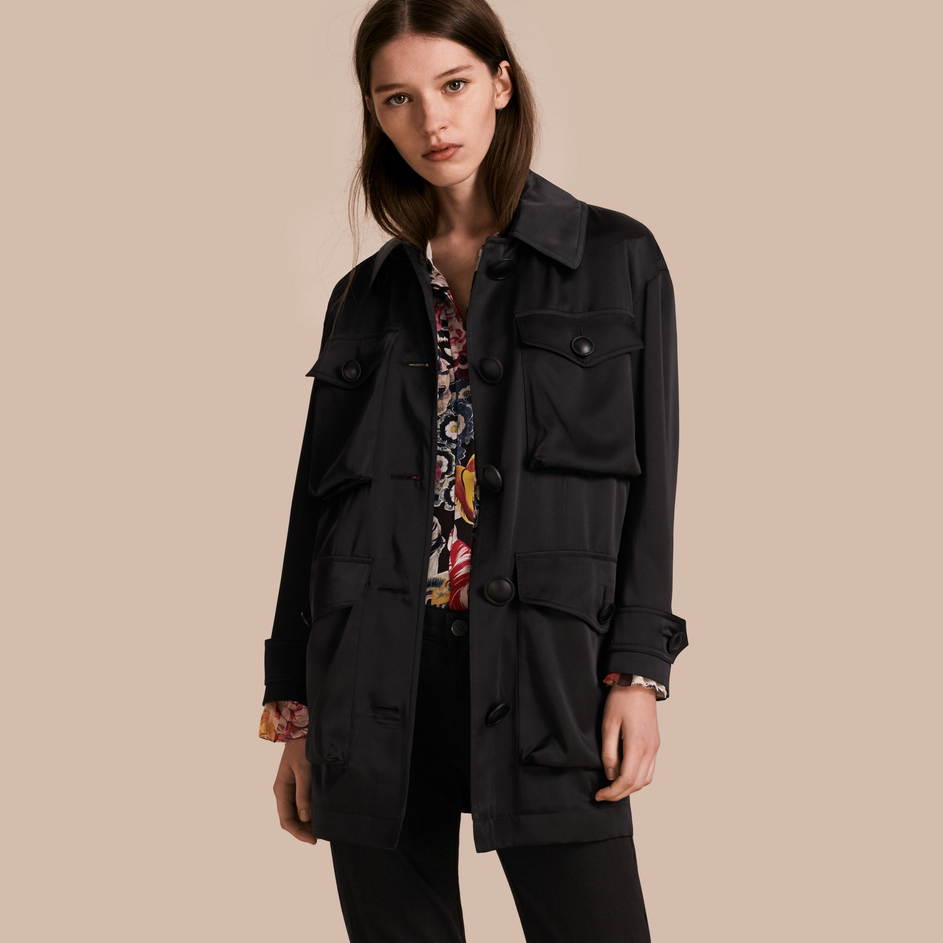 Check Undercollar Silk Field Jacket - Women | Burberry - gallery image 1