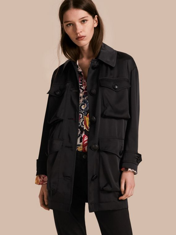 Check Undercollar Silk Field Jacket