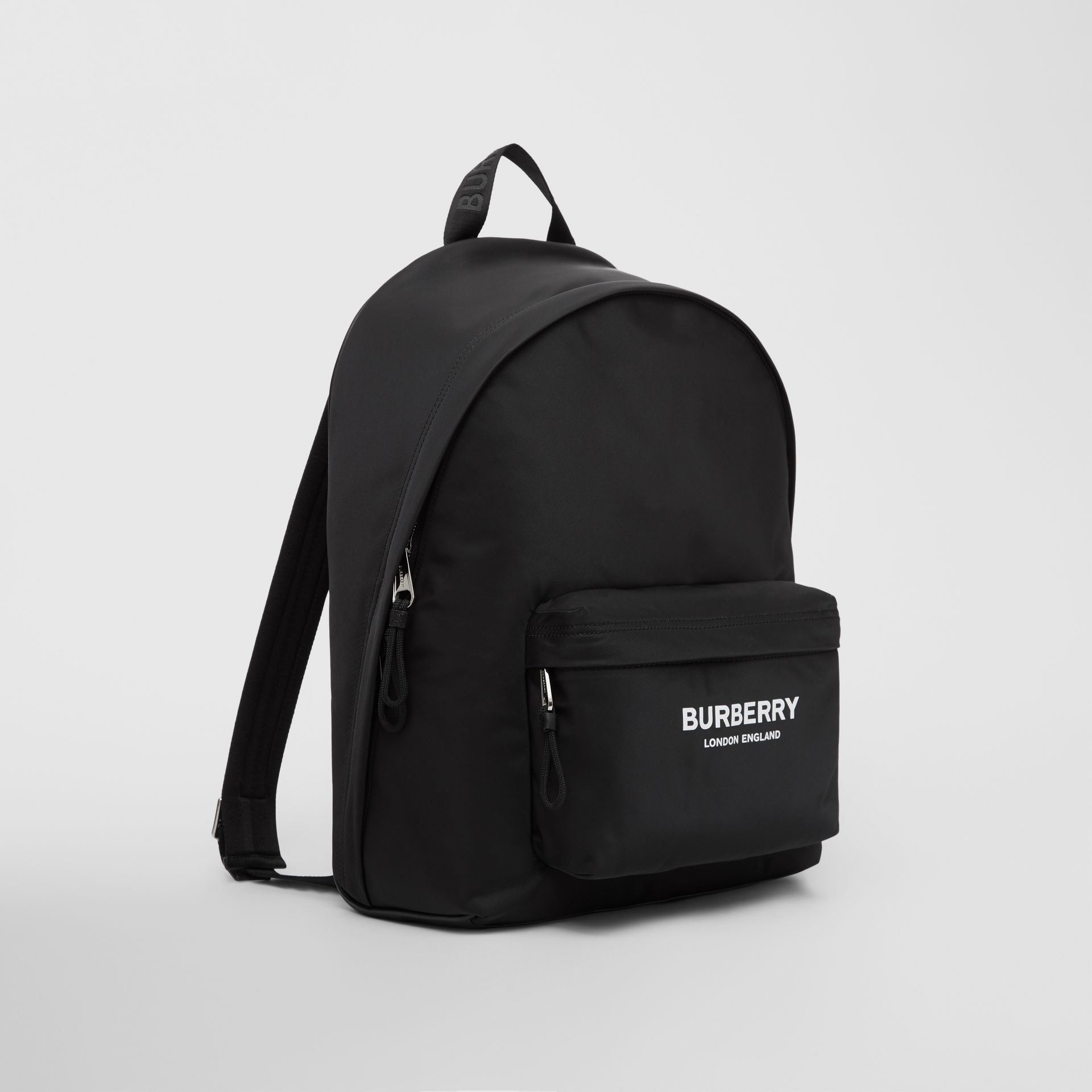 Logo Print ECONYL® Backpack in Black | Burberry - gallery image 8