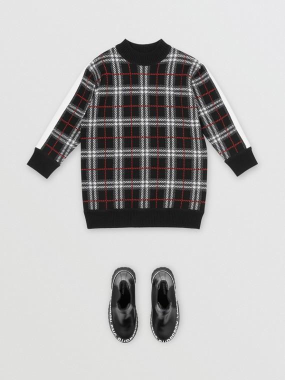 格紋美麗諾羊毛提花套頭衫式洋裝 (黑色)