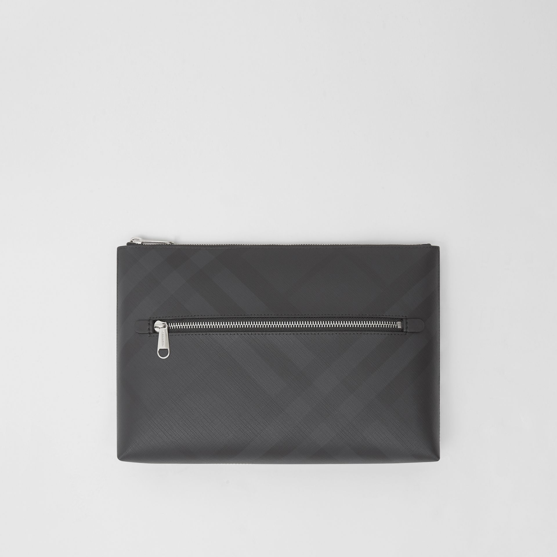 London Check Zip Pouch in Dark Charcoal | Burberry - gallery image 0
