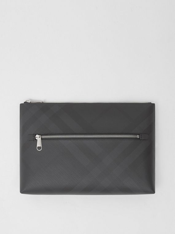 Pochette zippée London check (Anthracite Sombre)