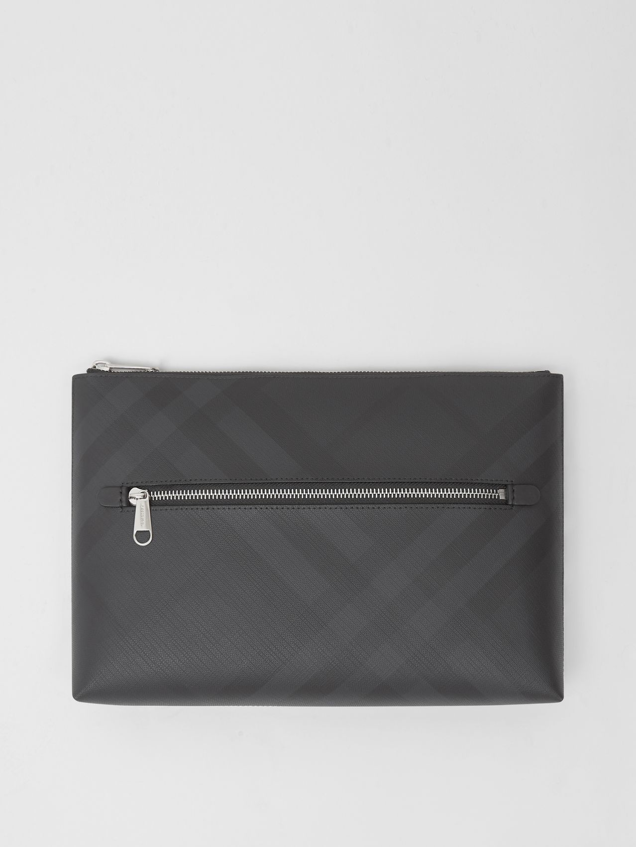 London Check Zip Pouch (Dark Charcoal)