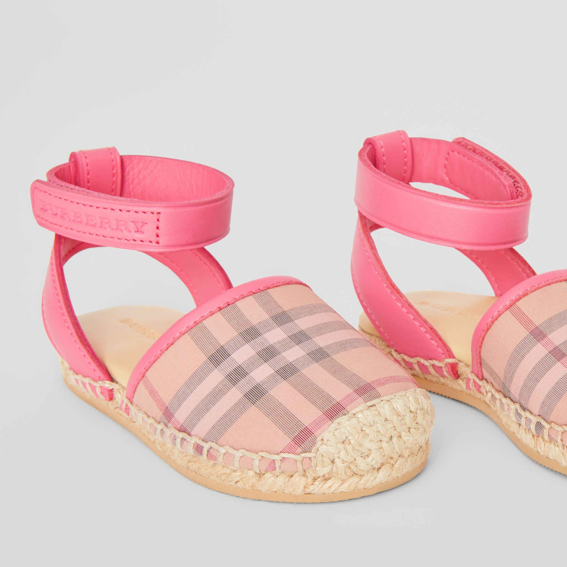 Check and Leather Espadrille Sandals in Bright Rose | Burberry - gallery image 1