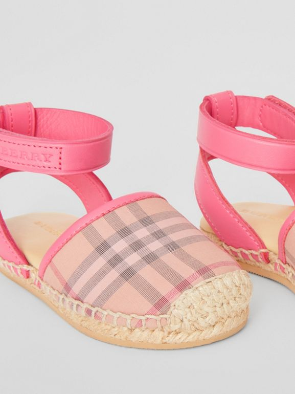 Check and Leather Espadrille Sandals in Bright Rose - Children | Burberry - cell image 1