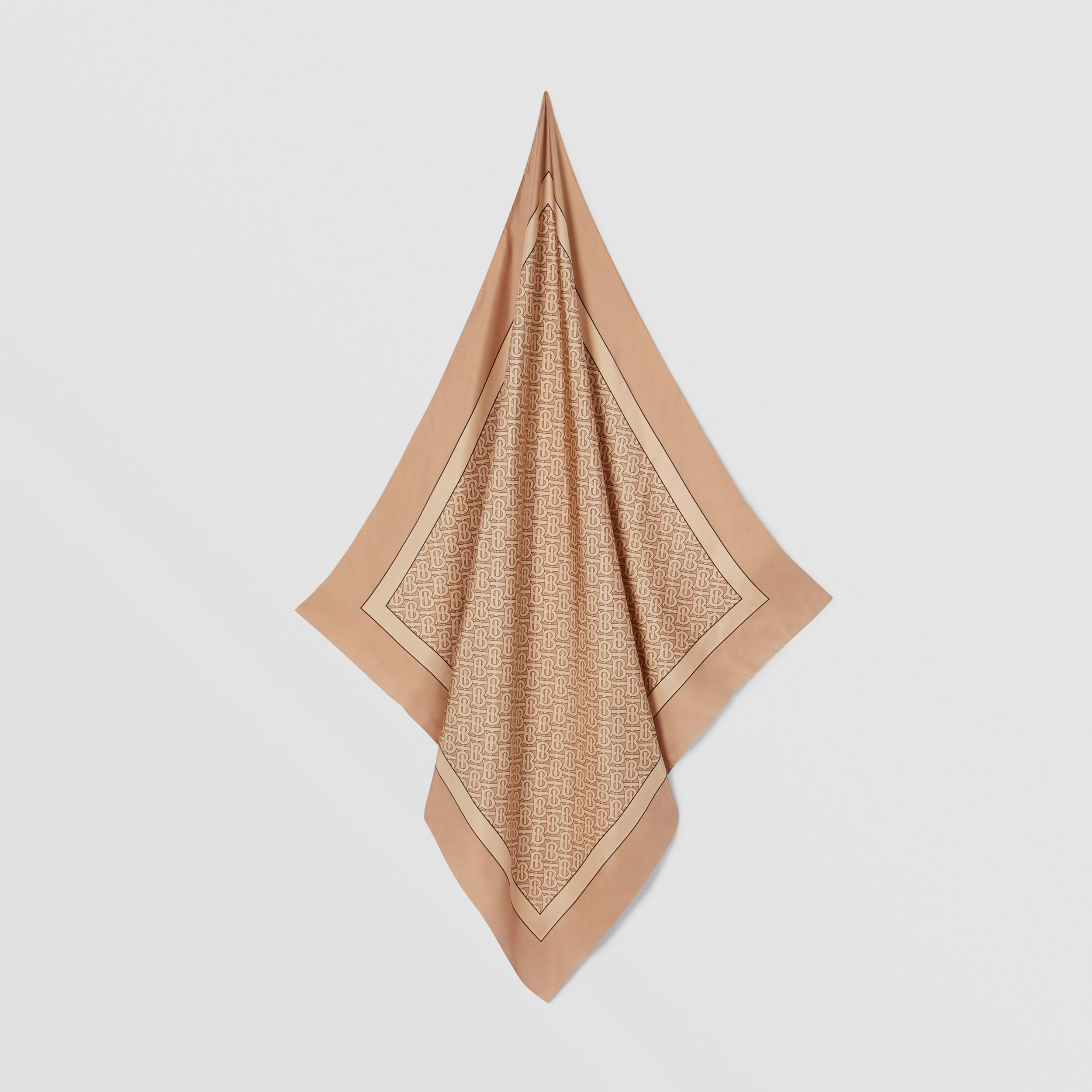 Monogram Print Silk Square Scarf in Pale Copper Pink | Burberry - 4