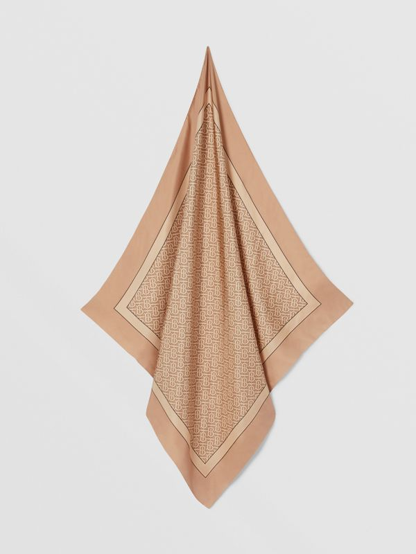 Monogram Print Silk Square Scarf in Pale Copper Pink | Burberry Hong Kong S.A.R - cell image 3