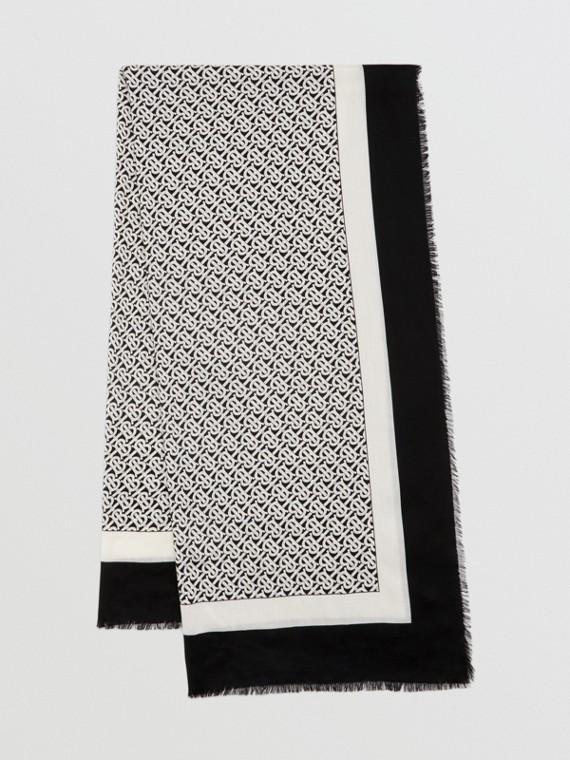 Monogram Print Lightweight Cashmere Scarf in Monochrome