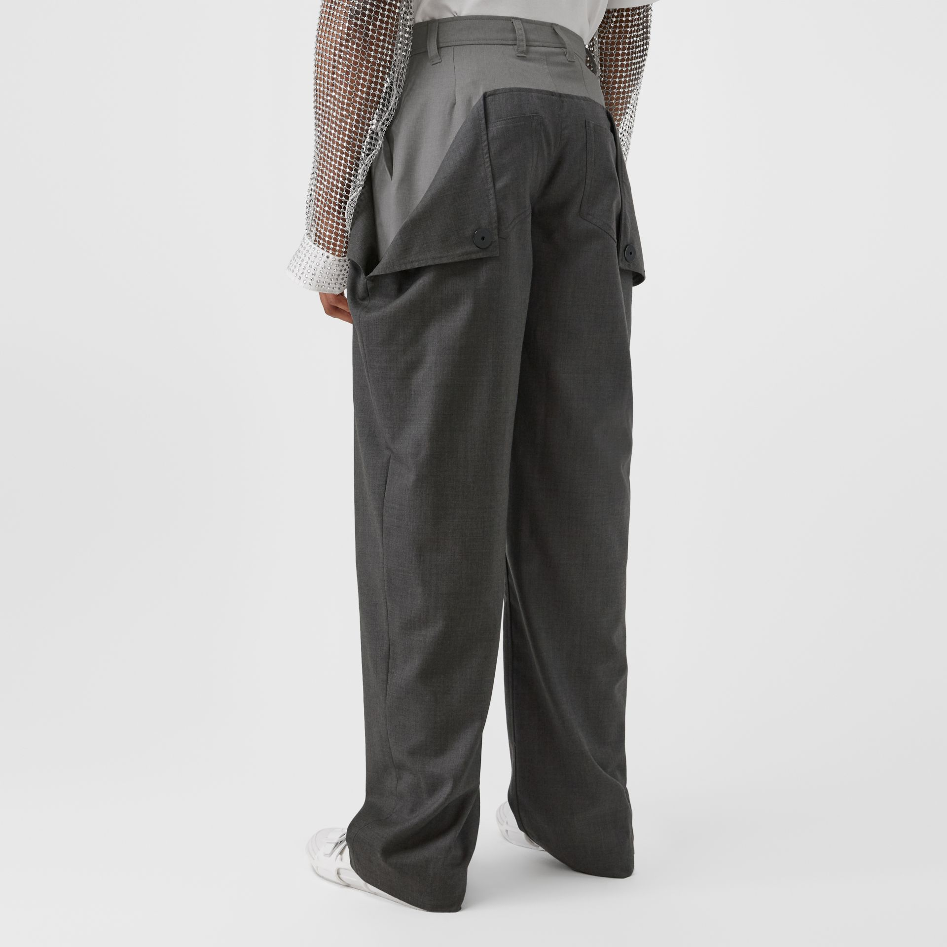 Press-stud Detail Tonal Wool Trousers in Charcoal Grey | Burberry United Kingdom - gallery image 2