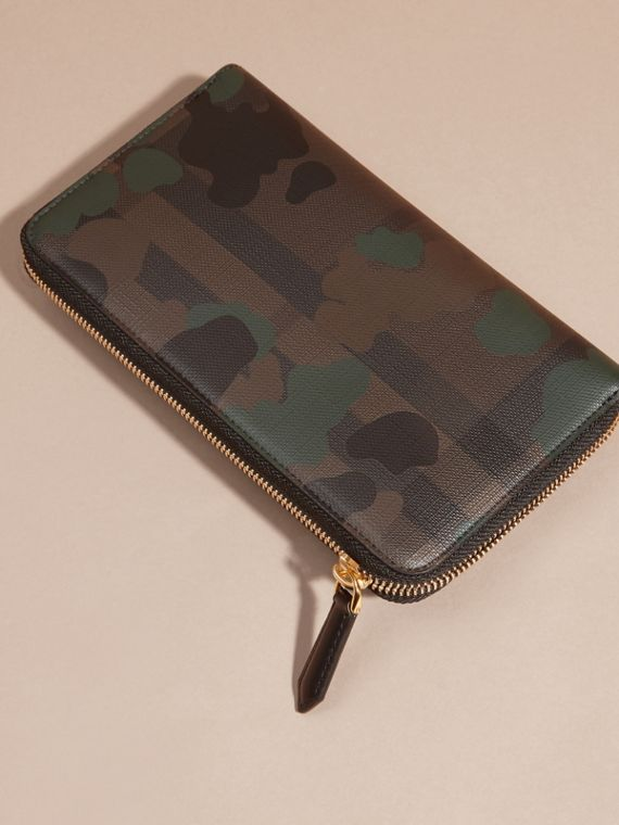 Chocolate/camouflage Camouflage and London Check Ziparound Wallet - cell image 3