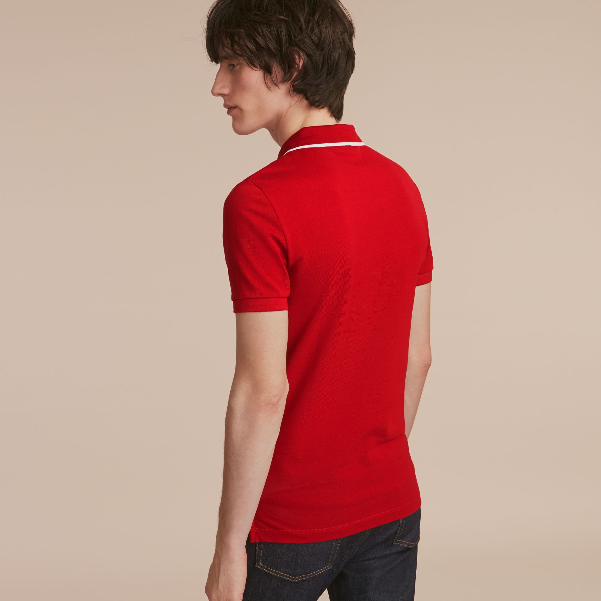 Tipped Collar Cotton Piqué Polo Shirt Military Red - gallery image 3