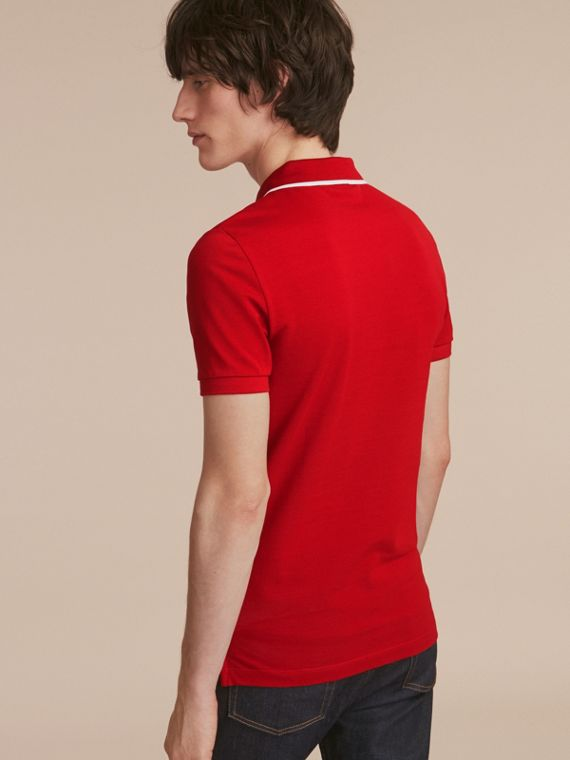 Tipped Collar Cotton Piqué Polo Shirt Military Red - cell image 2