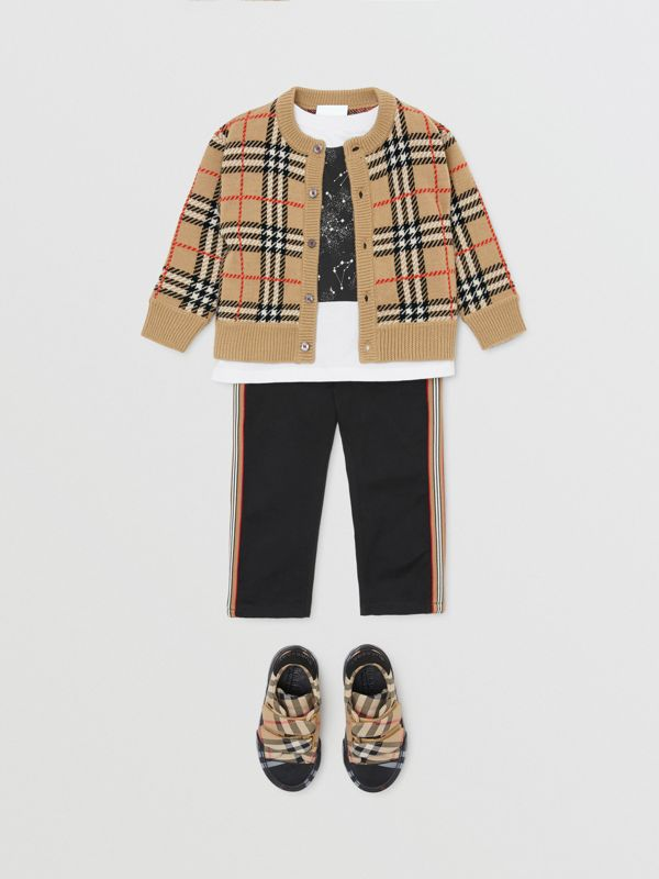 Check Merino Wool Cardigan in Archive Beige - Children | Burberry Singapore - cell image 3