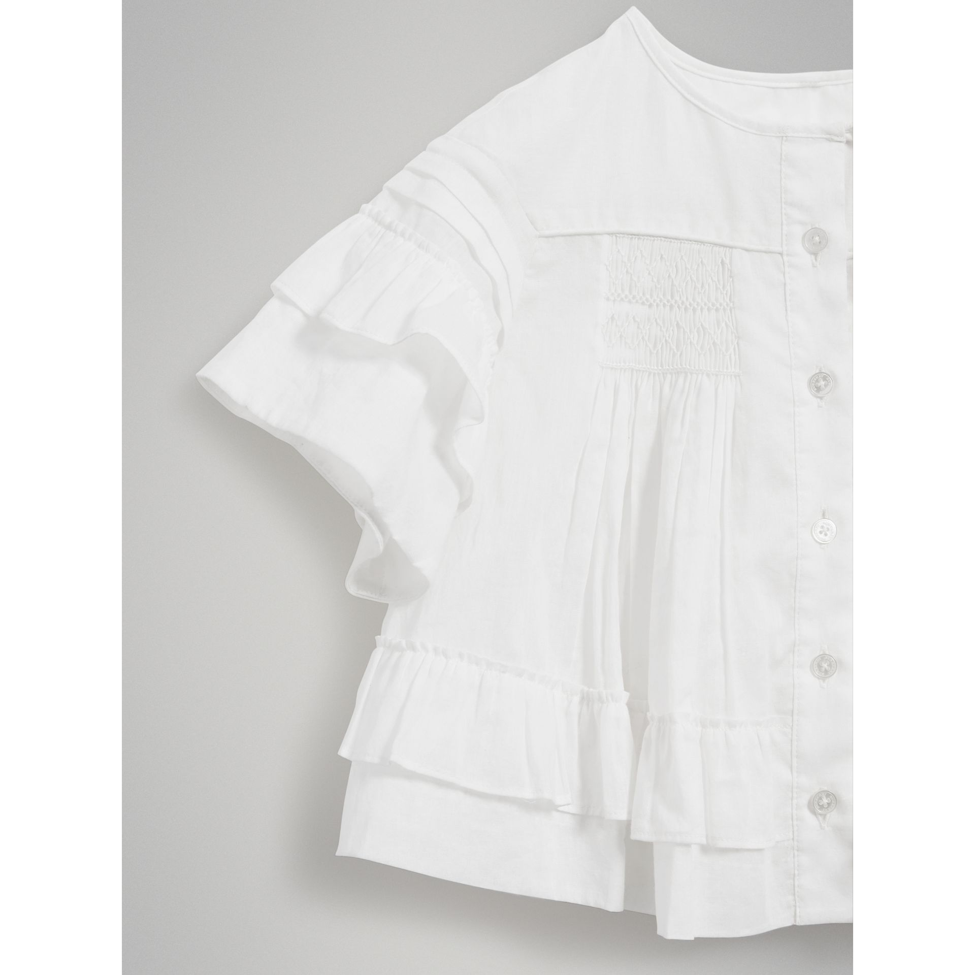 Smocked Cotton Shirt in White - Girl | Burberry - gallery image 4
