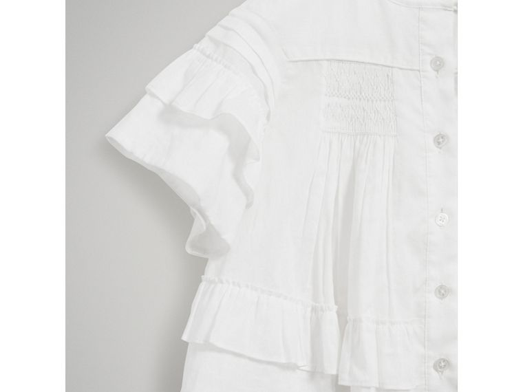 Smocked Cotton Shirt in White - Girl | Burberry United Kingdom - cell image 4