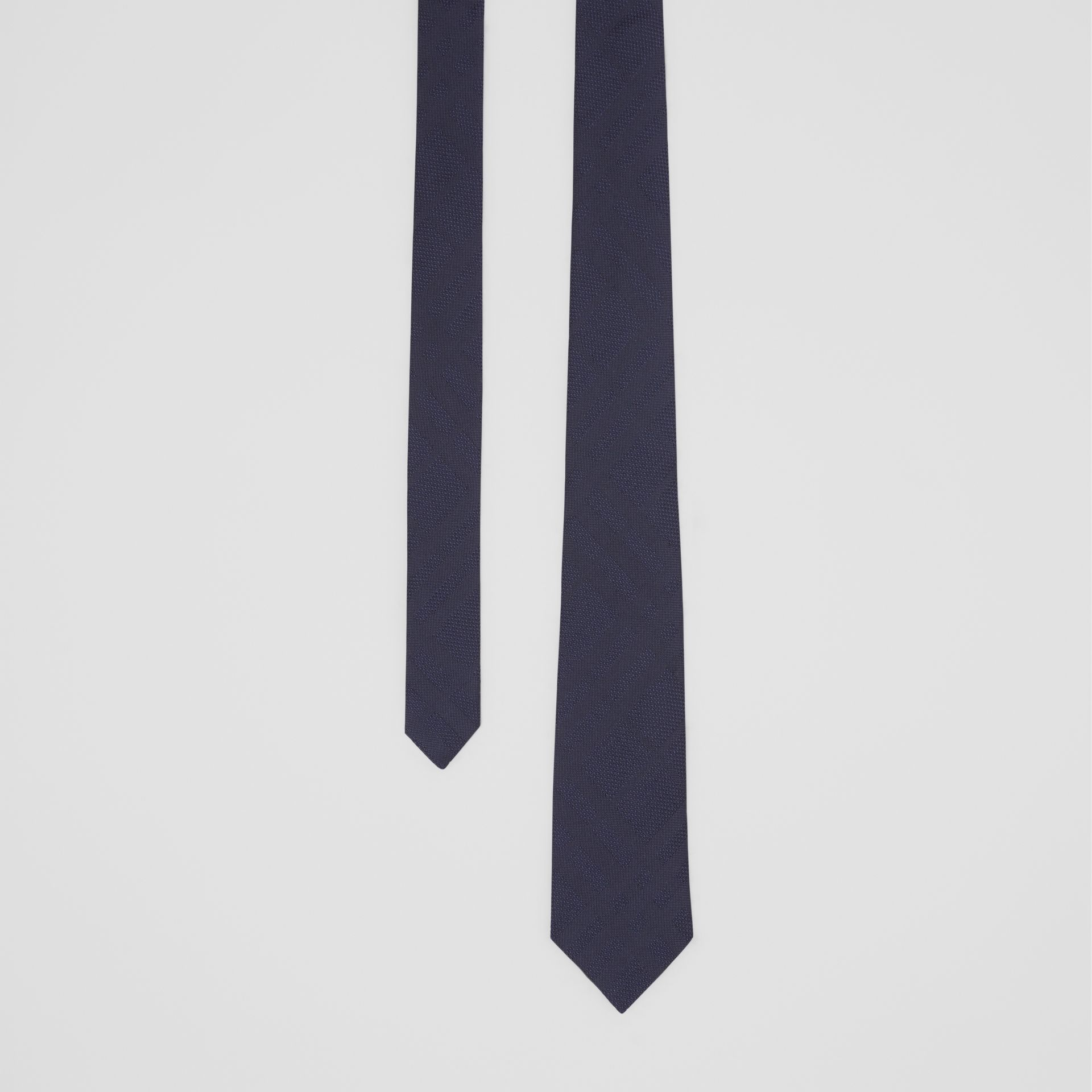 Classic Cut Check Silk Jacquard Tie in Navy - Men | Burberry United Kingdom - gallery image 0