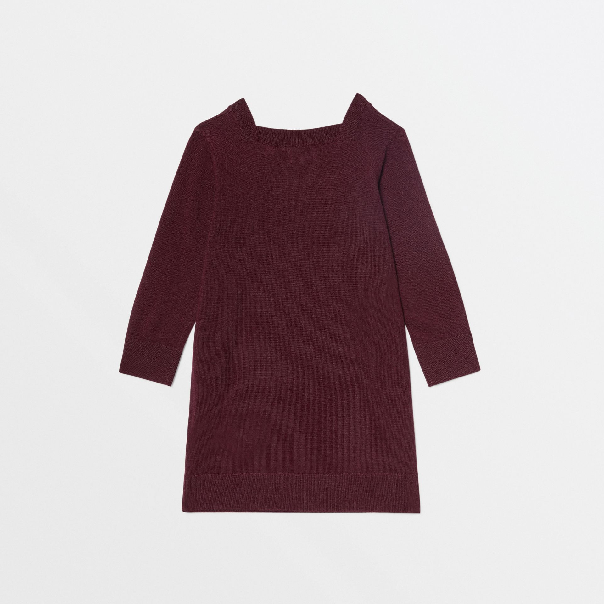 Monogram Motif Cashmere Sweater Dress in Burgundy | Burberry United Kingdom - gallery image 3