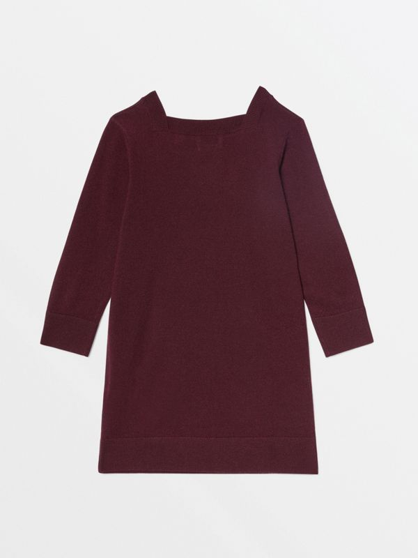 Monogram Motif Cashmere Sweater Dress in Burgundy | Burberry - cell image 3