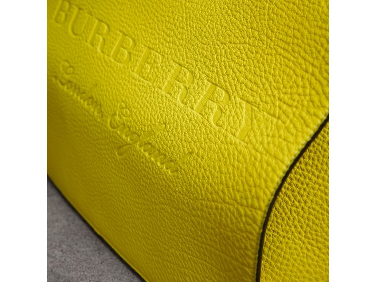 Large Embossed Leather Messenger Bag in Neon Yellow | Burberry - cell image 1