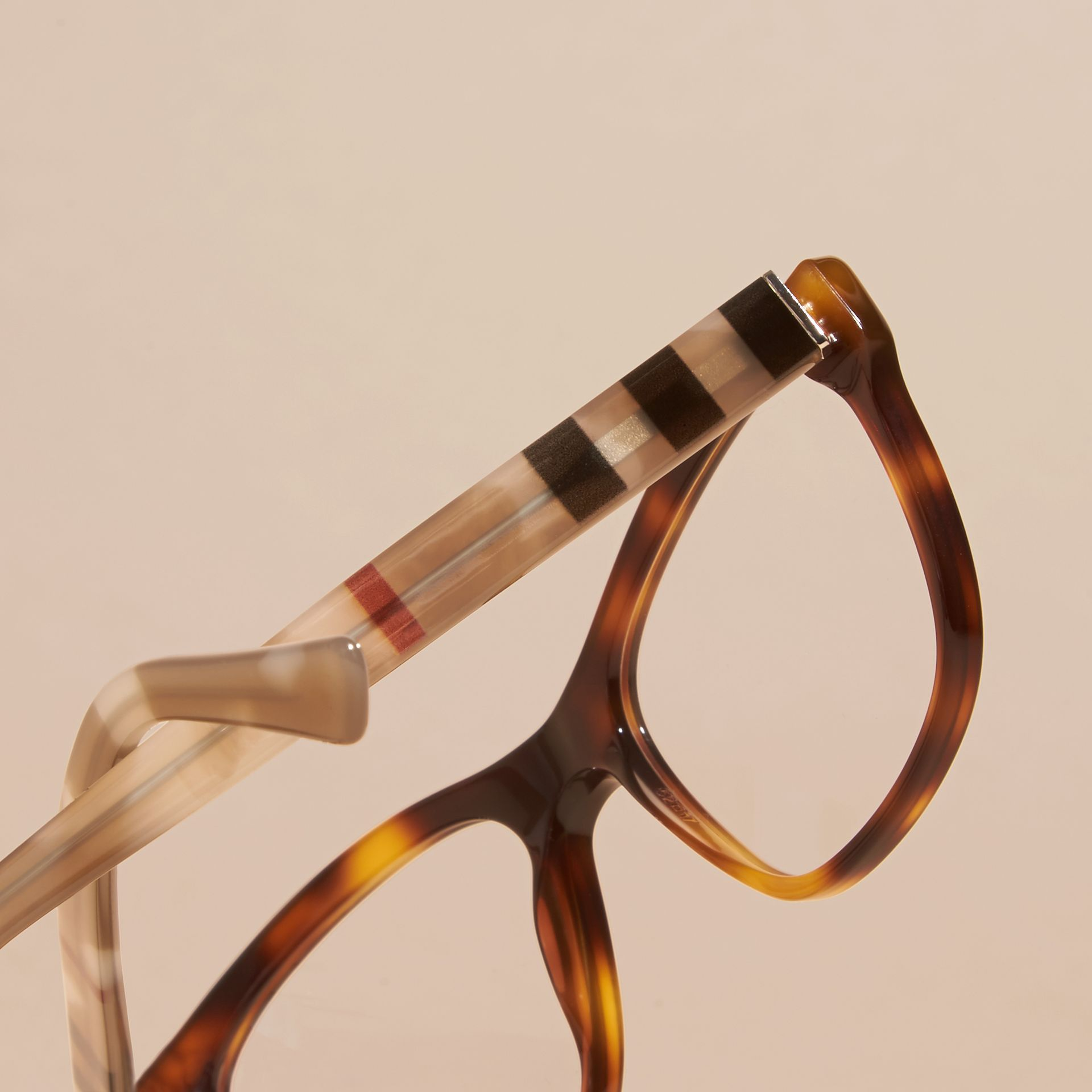 Light russet brown Check Detail Square Optical Frames Light Russet Brown - gallery image 2