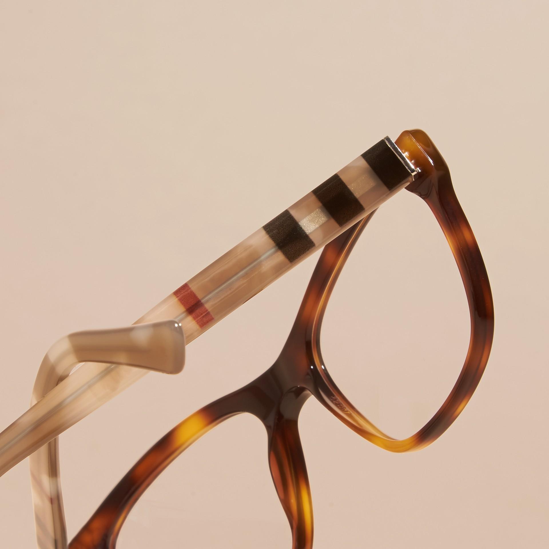 Monture carrée à motif check pour lunettes de vue (Brun Roux Clair) - Femme | Burberry - photo de la galerie 2