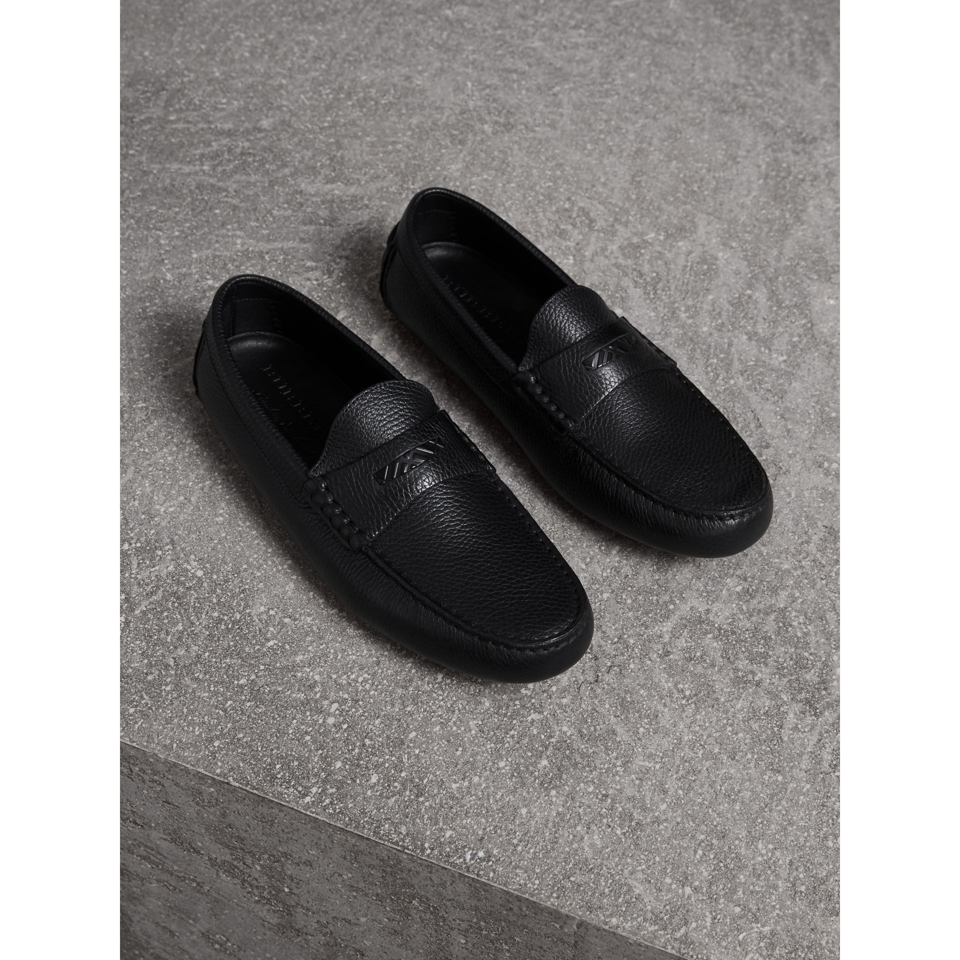 Grainy Leather Loafers with Engraved Check Detail in Black - Men | Burberry Hong Kong - gallery image 1
