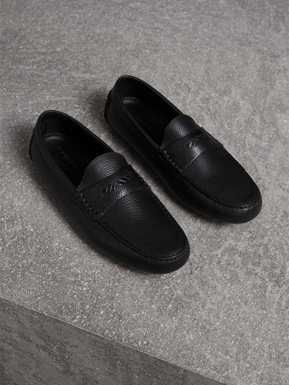 Grainy Leather Loafers with Engraved Check Detail in Black - Men | Burberry