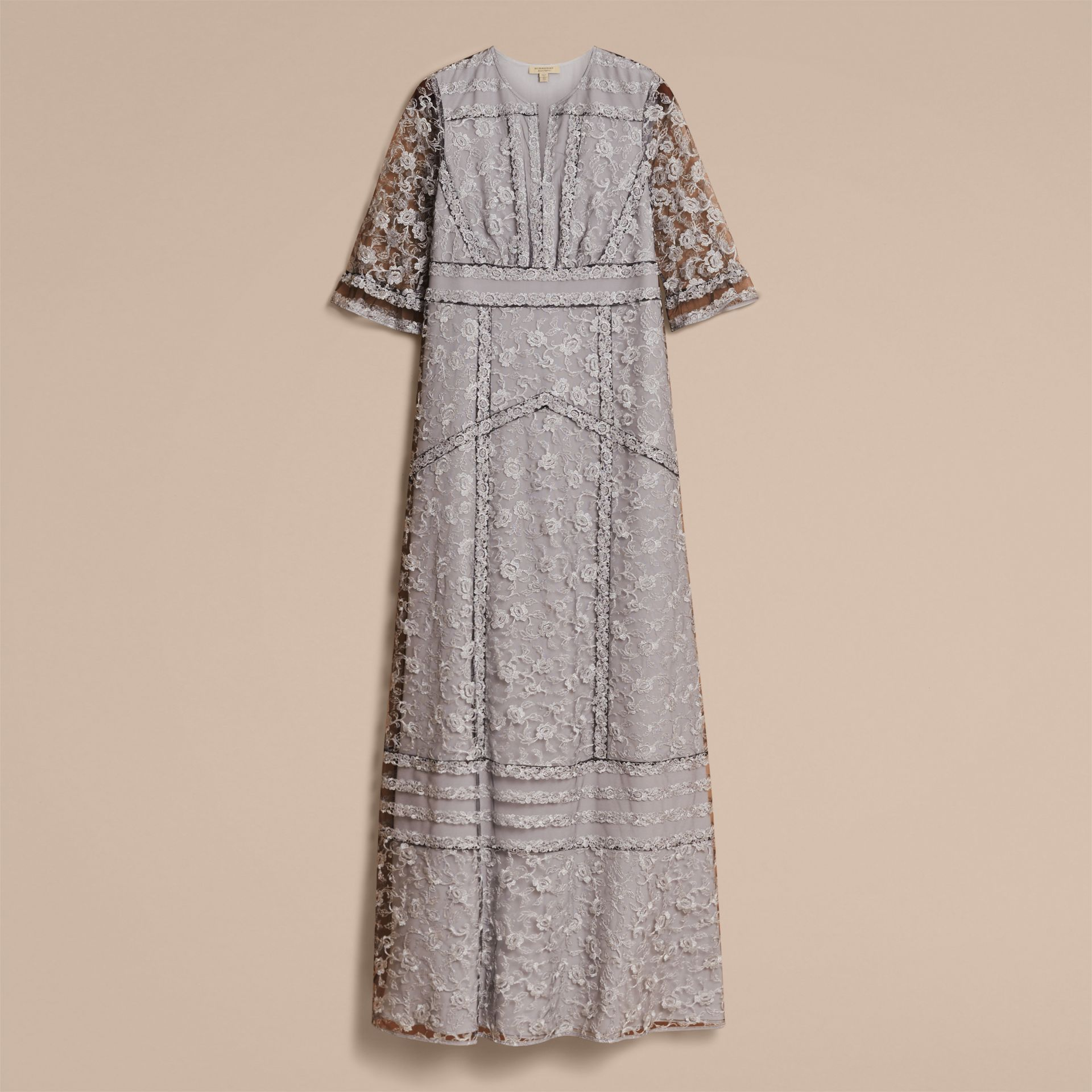 Floral Lace Tulle Dress in Silver - Women | Burberry - gallery image 4