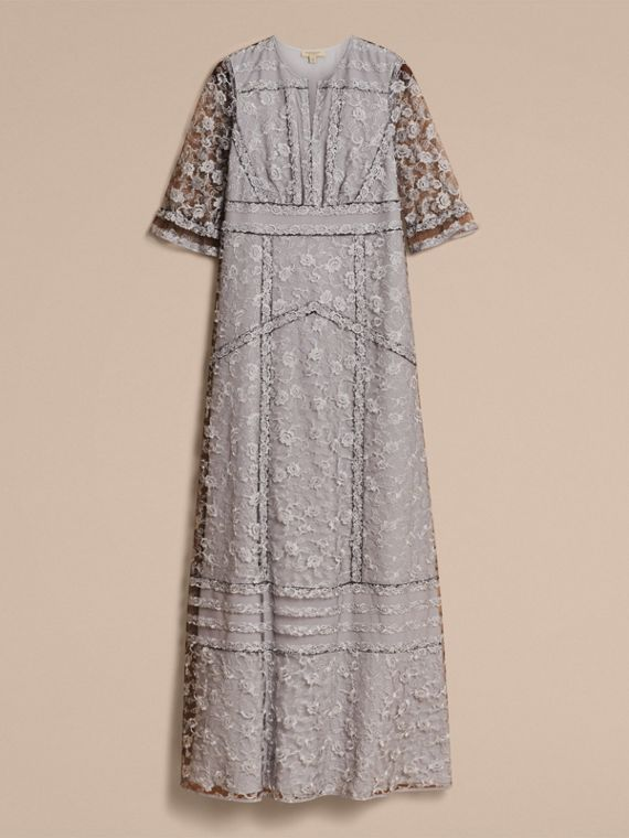 Floral Lace Tulle Dress in Silver - Women | Burberry - cell image 3