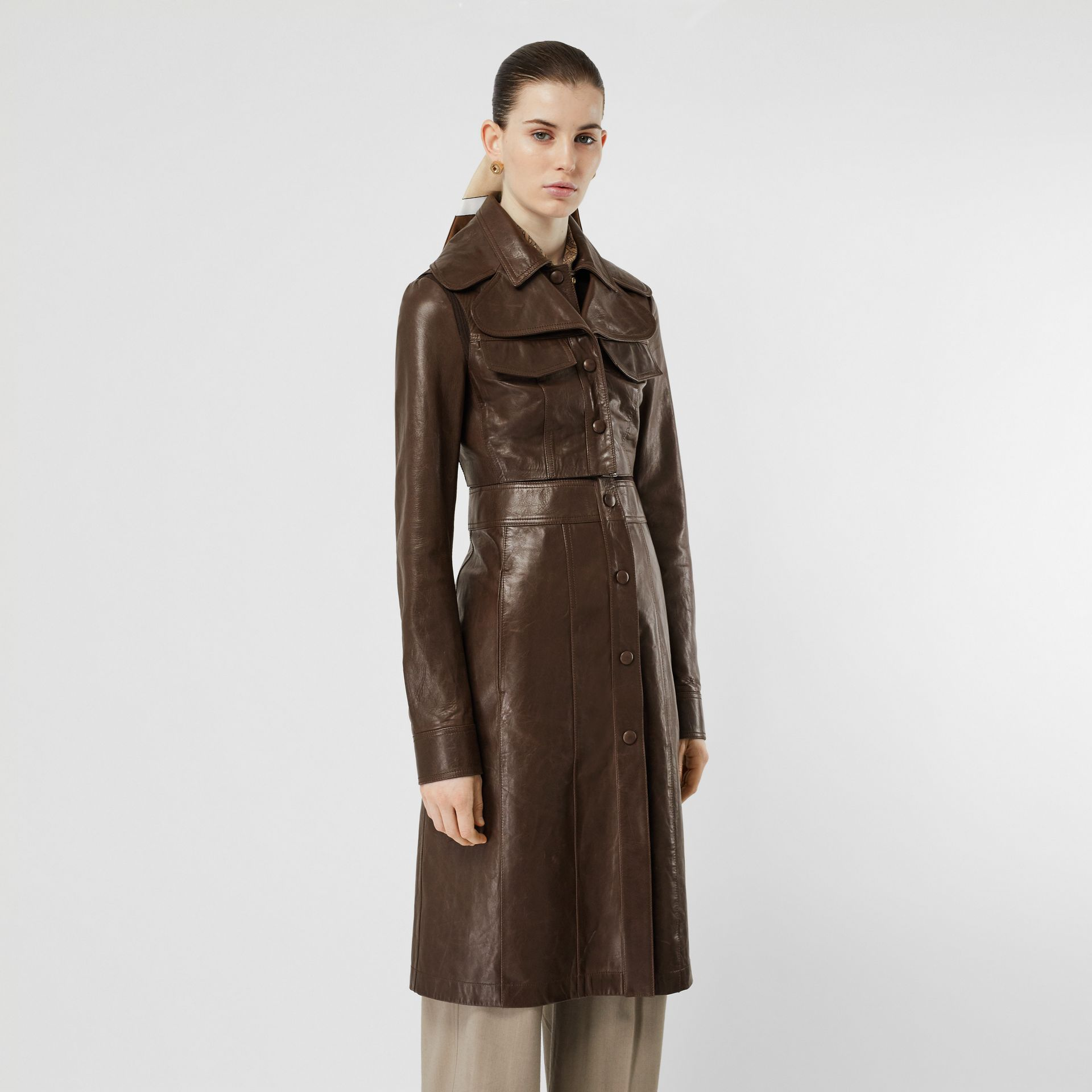 Lambskin Coat with Detachable Cropped Gilet in Dark Brown - Women | Burberry - gallery image 5